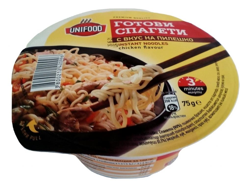 Готови спагети купа с вкус на пилешко 75гр. Унифуд