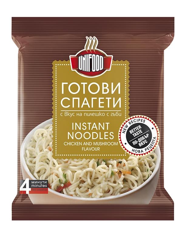 Готови спагети с вкус на пиле и гъби Уни-Фуд  70 гр. NEW