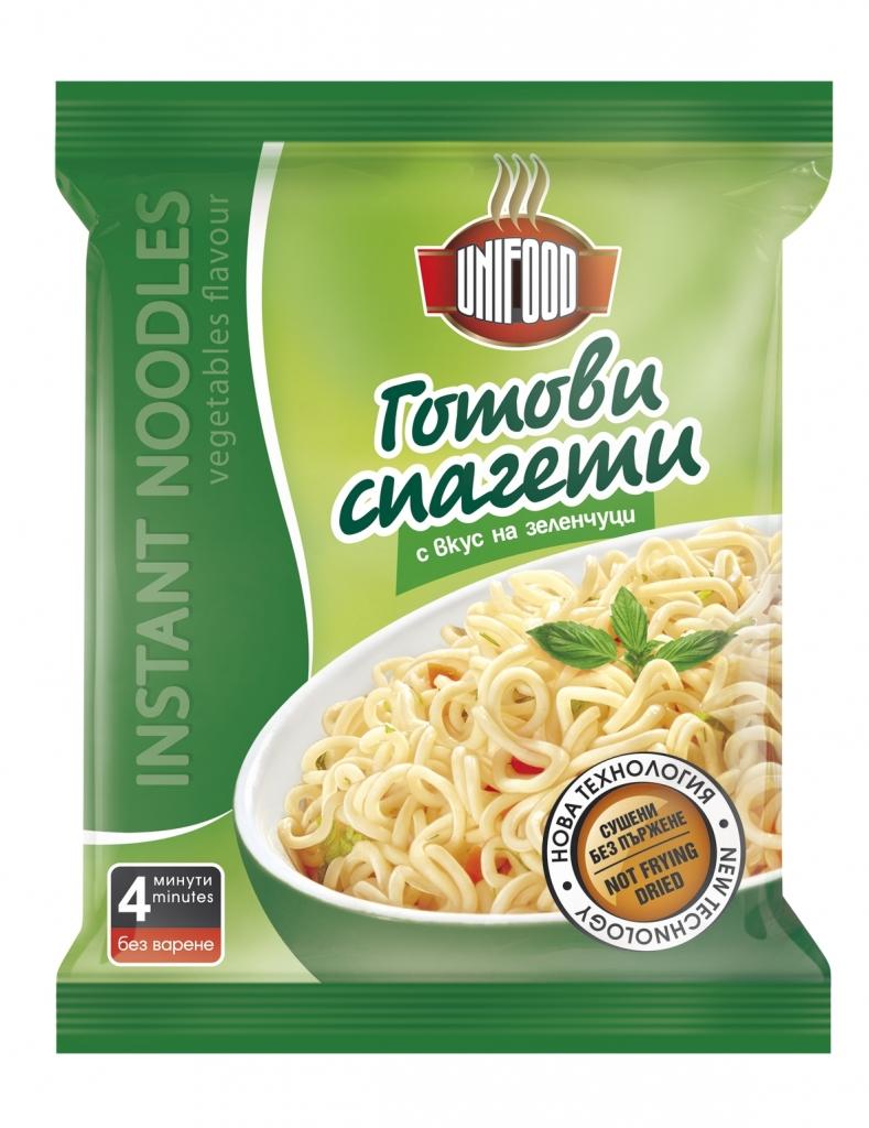 Сушени готови спагети с вкус на зеленчуци 70 гр.