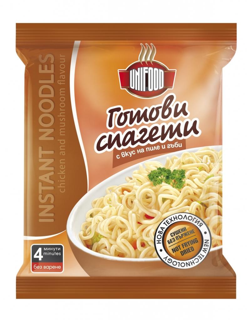 Сушени готови спагети с вкус на пиле и гъби 70 гр.